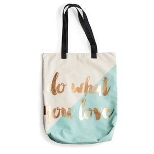 Do What You Love Metallic Gold Accents Large Tote